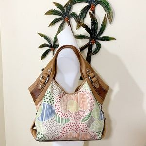 Fossil hobo fabric & leather large bag